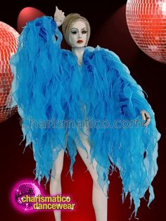 CHARISMATICO Blue ruffled drag queen show girl tissue dance jacket Drag Queen Costumes, Drag Queen Outfits, Jade, Yellow Feathers, Sequin Jacket, Showgirls, Dance Wear, Diva, Tuxedos