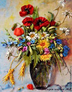 """Картина вышитая лентами """"Подарок лета"""" - букет цветов,цветы в вазе,Вышитая картина"""