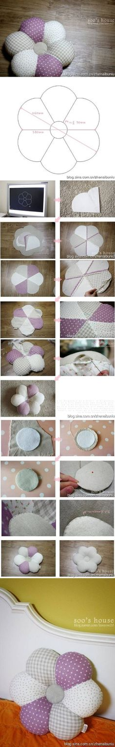 DIY Flower Style Pillow DIY Projects | UsefulDIY.com Follow Us on Facebook ==> http://www.facebook.com/UsefulDiy