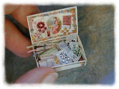 one twelfth (1:12) scale miniature printed sewing kit with accessories