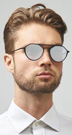 e17e5eef437 Matte  designer  mens  sunglasses with silver mirrored lenses. Stainless