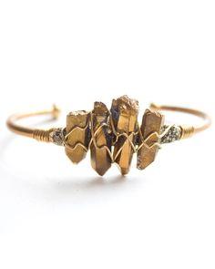 Gold Crystal Wire Cuff