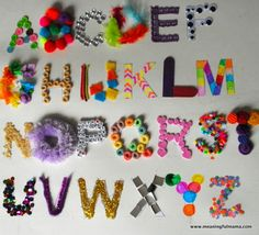 This textured alphabet craft was my answer to the Elmer's Early Learn's Academy's Pin and Win Contest. Elmer's contacted me. Alphabet Writing, Teaching The Alphabet, Alphabet Crafts, Alphabet For Kids, Learning Letters, Alphabet And Numbers, Teaching Art, Teaching Activities, Alphabet Letters