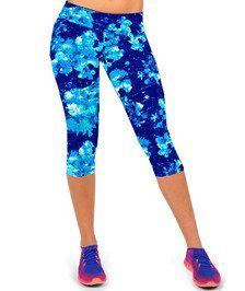 Women's Blue Blot Capri Leggings