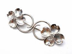 Stuart Nye Sterling Silver Dogwood Flower Brooch Large Early HandMade Pin Signed #StuartNye #Flower