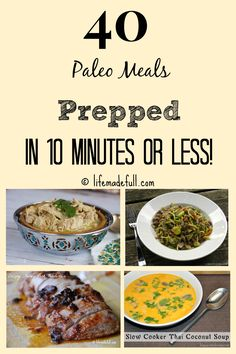 Paleo Meals Prepped in 10 Minutes or Less! - Life Made Full 40 Paleo Meals Prepped in 10 Minutes or Less! - Life Made Full Autoimmun Paleo, Paleo Meal Prep, Paleo Life, Paleo Dinner, Paleo Food, Easy Paleo Meals, Paleo Freezer Meals, Veggie Food, Vegetarian Food