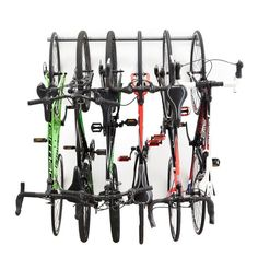 The Bike Storage Rack securely stores 6 bikes in a compact space. The Bike Rack's ability to store 6 bikes is designed for long term storage, freeing up valuabl