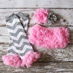 Baby Girl TuTu Bloomers Chiffon Ruffle Diaper Cover Grey Pink Headband Set 6 12 18 months Photography Prop CAKE SMASH Chevron Legwarmers on Etsy, $26.95