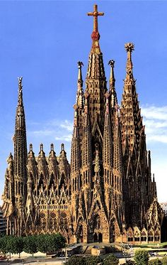 Sagrada Familia Cathedral in Barcelona, Spain.  I've seen this beautiful cathedral with very impressive detail both on the exterior and interior.  Humbling to be sure.