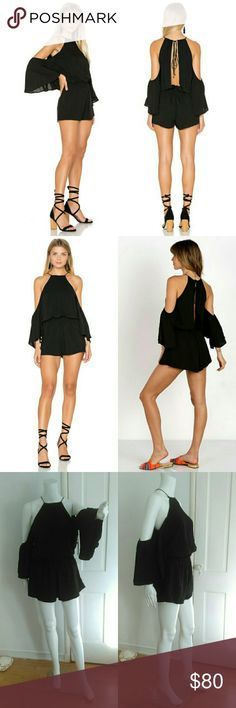 Delacy Black Off The Shoulder open Back Jumpsuit This black romper by Delacy Los Angeles is GORGEOUS! It is SOLD OUT on Revolve at full price. Perfect for day or night. It will make you look like a million bucks!   Brand new with tags DeLacy Pants Jumpsuits & Rompers