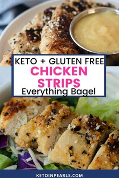 Crispy almond flour breaded chicken strips with everything bagel seasoning blend from Keto in Pearls are delicious! These healthy chicken strips are EASY to make. The longest part about making them is the brining. Easily serve them by themselves or add them to a salad, a wrap, a taco, or even a casserole. However, you decide to serve these keto chicken strips, your family will love them. #keto #ketochicken #chickenstripsrecipe #chickenstrips #chickenfingers #healthy #almondflour