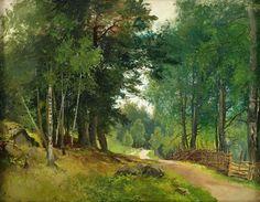 Josefina Holmlund (Swedish artist) 1827 - 1905 Sommarlandskap med Gärdesgård Intill en Väg, ca. 1850-55 oil on canvas 44 x 56.5 cm. signed J. Holmlund