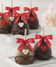 Petite Hearts Four-Piece Caramel Apple Gift Set