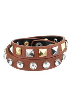 Stud and Rhinestone Embellished Double Wrap Bracelet available at #Maurices