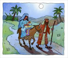 Joseph was warned in a dream to take Mary and baby Jesus to Egypt. They left that very night