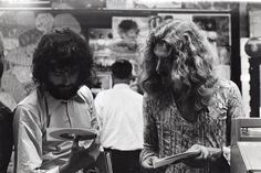 Jimmy Page and Robert Plant of Led Zeppelin shopping for records