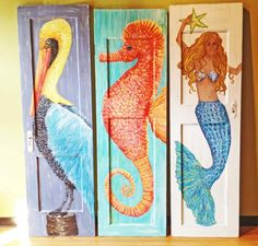 Decor Ideas for Old Doors Ways to Repurpose a Door for Coastal Living - Coastal Decor Ideas Interior Design DIY Shopping Coastal Art, Coastal Style, Coastal Living, Discount Bedroom Furniture, Beach Crafts, Diy Crafts, Wine Bottle Crafts, Wine Bottles, Old Doors