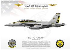 """UNITED STATES NAVY ELECTRONIC ATTACK SQUADRON ONE THREE EIGHT (VAQ-138) """"Yellow Jackets"""" EF-18G VAQ-138 """"Yellow Jackets"""" CAG JP-1143"""