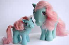 My Little Pony G1 Vintage UK BOWTIE mum and baby Ponies Hasbro 1982/84.
