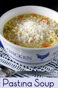 Pastina Soup - an easy noodle soup to make for a chilly autumn night Pastina Recipes, Soup Recipes, Cooking Recipes, Chicken Pastina Soup Recipe, Recipies, Carrot Recipes, Cabbage Recipes, Fudge Recipes, Pudding Recipes