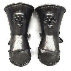 Skull design mitten gauntlets for Larp, TV, Theatre, Cosplay and Film Larp Armor, Visual Development, Skull Design, Dark Ages, Rubber Rain Boots, Celtic, Armour, Magic, Fantasy