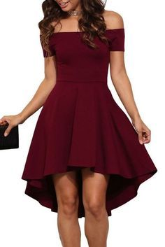 Burgundy Off the Shoulder Cocktail Dress,Homecoming Dress,MB 11