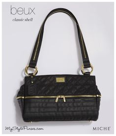 Miche Beux Luxe Shell for Classic Bags  from MyStylePurses.com - Black Quilted Purse with gold zipper details
