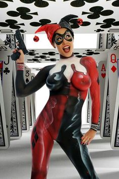 Harley Quinn Body Paint. Sexy