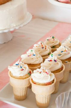 Cupcake cones at an ice cream birthday party! See more party ideas at CatchMyParty.com!