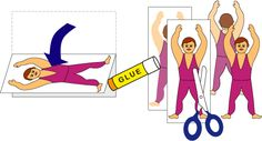 Craft project: Printable patterns for making circus trapeze performers and instructions for making a trapeze. Put these together with other crafts from the Under the Bigtop craft series to make a paper circus. Tent Craft, Decor Crafts, Diy Crafts, Computer Paper, Craft Projects, Craft Ideas, Black White Pattern, Paper Strips, Star Stickers