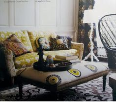 chartreuse  + black---love that ottoman too!!'