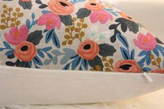 Pictures shown a 20x20 Pillow cover in canvas, fabric by Rifle Paper Company Back side in Natural color linen/rayon  If you are looking for a different size, please convo me. It can be made in any size.  Perfect floral pillow for a girls bedroom or a nursery.  Pillow cover with Rosa Floral in Natural, canvas in natural on the frontside Collection : Les Fleurs by Rifle Paper Co  Backside in Ivory linen/rayon. Invisible zipper. Insert is not included.