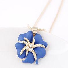 Korean Style Rhinestone Embellished Flower Starfish Necklace Blue YW15041504-3 Korean Style Rhinestone Embellished Flower Starfish Necklace Blue YW15041504-3