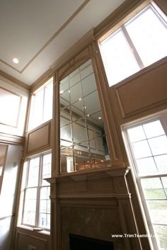 images of two story mantels | 050. Fireplace with mirror in two story family room. Freehold, NJ ...