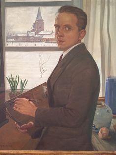 Self-portrait of my father. Joris Van Elst. ( 1908-1991). In his studio with the church of Westerlo ( Belgium ) 1947