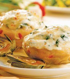 Corazones de alcachofa rellenos de queso