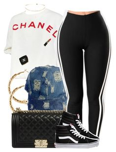 """Untitled #956"" by trinsowavy ❤ liked on Polyvore featuring Chanel, H&M and Vans"