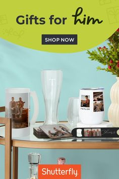Shutterfly is your one-stop shop! You could create a unique gift with a favorite shared memory or personalize an individual gift for him. A funny memory can turn into a cherished keepsake or a most-loved photo can become his favorite new home decor piece. Photo books, wall calendars, mugs, barware and more are all some of the best gift ideas when you put your own spin on them. Personalize with a favorite photo, memory, or pick a fresh and modern design from our free Art Library. Unique Gifts, Best Gifts, Shutterfly, Photo Book, Gifts For Dad, Holiday Gifts, Barware, Personalized Gifts, Modern Design