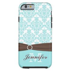 Blue, Brown, White Damask iPhone 6 case