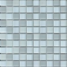 Glass mosaic tile for kitchen backsplash or bathroom tile in white and gray glossy and matte blend