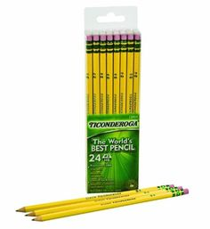 Dixon Ticonderoga Wood-Cased Pencils, #2, Yellow,  Box of 24 (13924) Dixon Ticonderoga http://www.amazon.com/dp/B0000AQNPB/ref=cm_sw_r_pi_dp_-olKtb01PV0EQZ7Q
