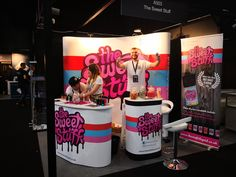 This exhibition really stands out with its fantastic branding and bright colour scheme. Made up of a Pop Up Stand Bundle (which includes carry case, graphic wrap and lights), Eurostand Counter and Swift Plus Roller Banner. Bright Color Schemes, Exhibition Stand Design, Set Design, Swift, Pop Up, Counter, Banner, Branding, Events