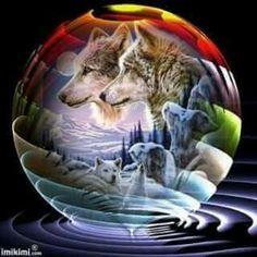 Spirits always watc Native American Wolf, Native American Pictures, Wolf Dreamcatcher, Wolf Husky, Wolf Artwork, Werewolf Art, Wolf Painting, Fantasy Wolf, Wolf Stuff