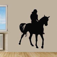Woman Horse Rider Animals Race Decor Home Vinyl Wall Art Girl Nursery Room Decor Sticker Decal size 22x22 Color