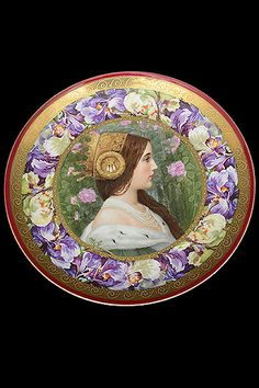 "Antique Austrian Portrait Porcelain Plate, Marked Vienna Origin: Austria. Circa: 1920. Dimensions: Diameter: 9.50""."