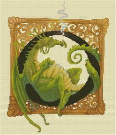 Cross Stitch Chart  Dragon - Illuminated Letter O by Pascal Moguerou Fantasy Art