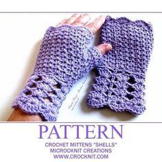 PATTERN Crochet Mittens Shells