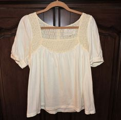 Deletta from Anthropologie Ivory Top with Lace - $40