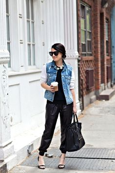 Cheetah is the New Black / Denim Vest / Leather Sweat Pants