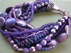 Purple Freshwater Pearl Bracelet  MultiStrand by jenniflairjewelry, $75.00 - MOH